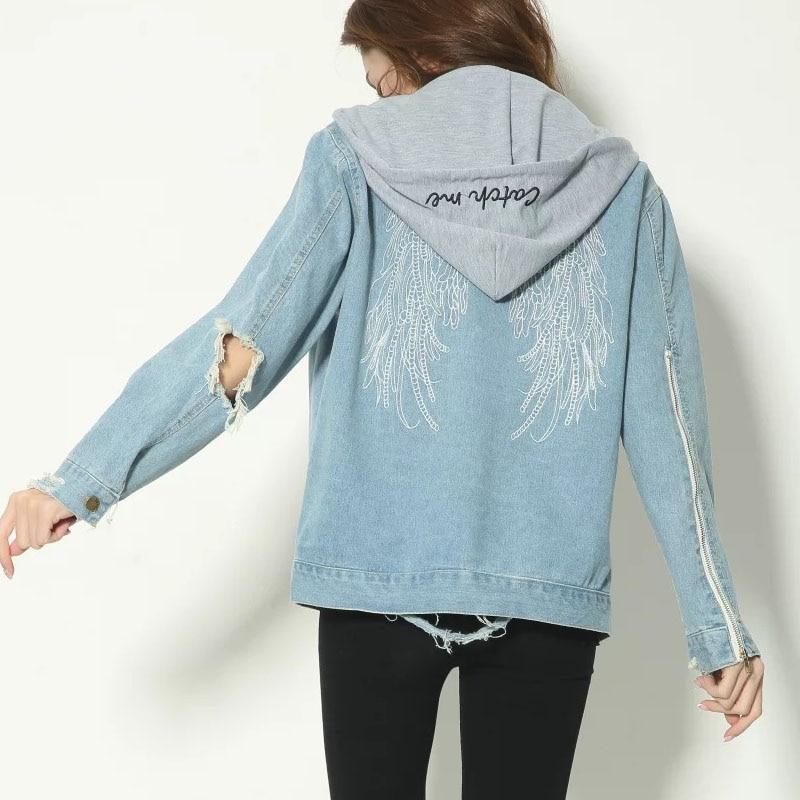 31fc16808 2018 Boyfriend Style Angel Wings Embroidery Casual Loose Denim ...