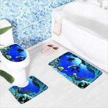 Ensemble de tapis de sol pour toilettes, en flanelle, antidérapant, avec Dauphin, impression monde sous-marin, 3 pièces