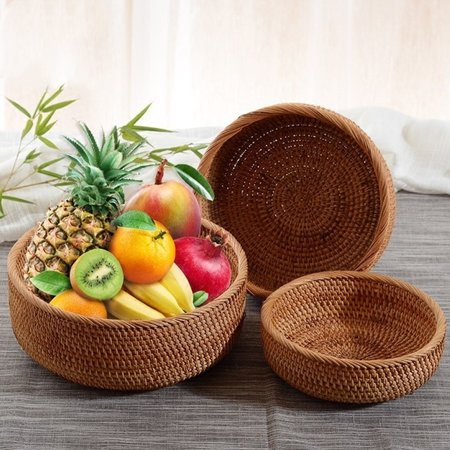 Handmade Natural Bamboo Weaving Wicker Basket Set Round Hollow Creative Storage Container For Fruit Food Bread Large Kitchenware