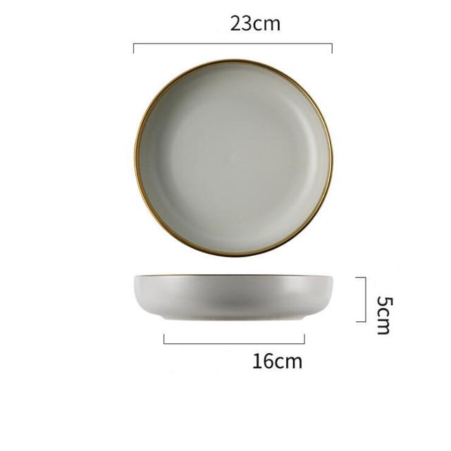 Porcelain Dinner Plate Set Kitchen Plate Ceramic Food Dish Noodle Bowl 3 Colours