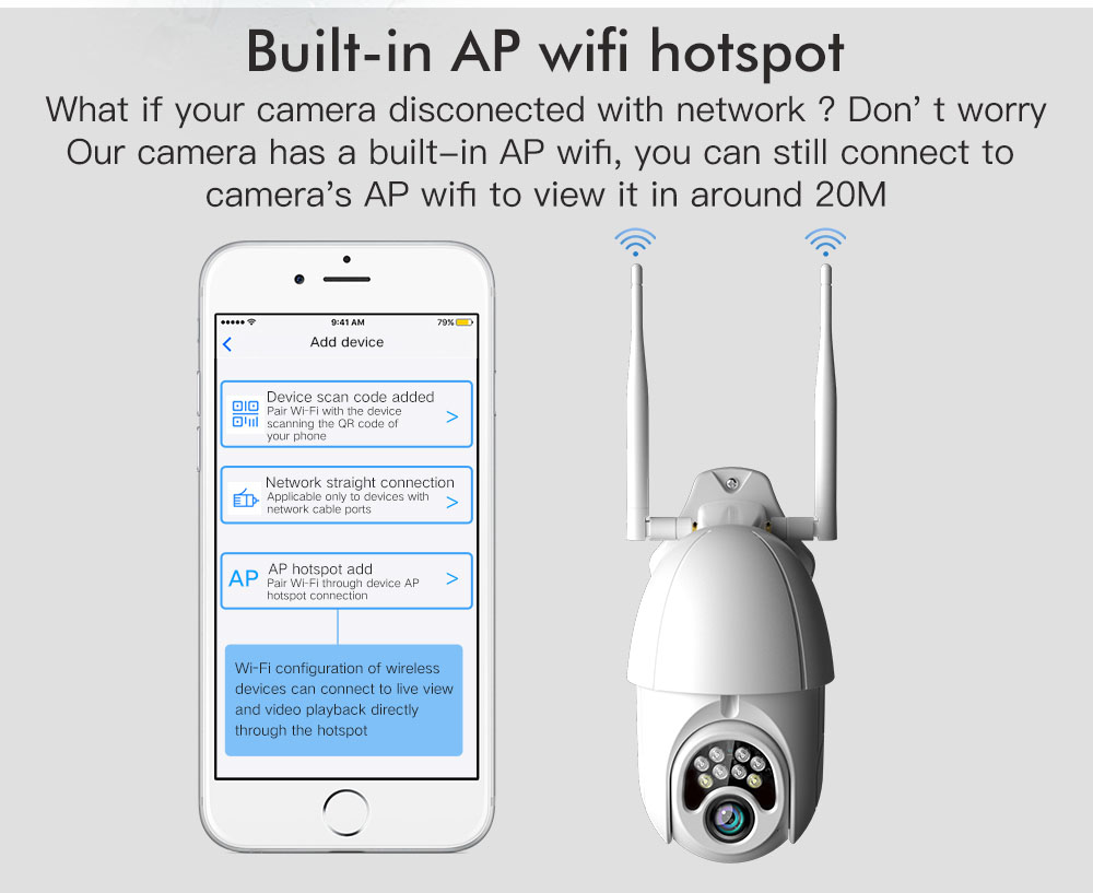 Security Ip Camera with Built in AP WIFI Hotspot