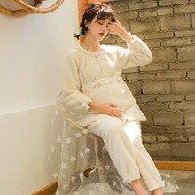 Ночная рубашка для беременных женщин, пижамы для беременных, зимняя теплая фланелевая одежда с длинными рукавами и бантом