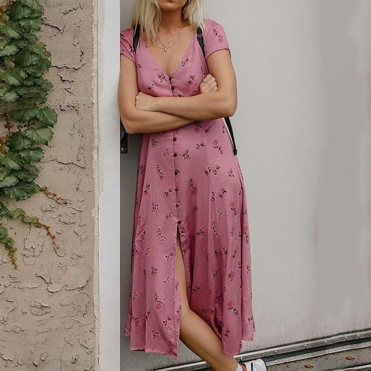 f3131e0831e4 Jastie V-Neck Button-Down Midi Dress Floral Print Boho Dresses 2019 Short  Sleeve Summer Dress Women Casual Beach Dresses Vestido