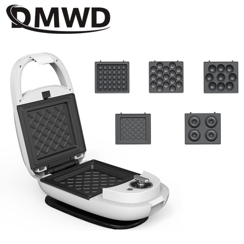 DMWD Non-stick Sandwich Maker Electric Waffle Maker Multifunctional Eggette Doughnut Takoyaki Grill Pan Lollipop Cake Ovenware
