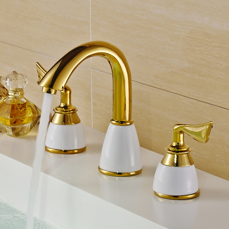 Modern Basin Faucets Polished Gold Brass Made Bathroom Sink Faucet Double Handle 3 Hole Bath Basin Counter Mixer Taps basin faucet split faucet soft jade gold brass made cold hot switch double handle bathroom shower room three hole mixer taps