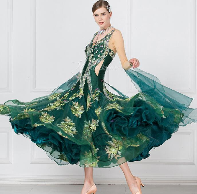 Adult women Modern dance one-piece dress expansion skirt to practice skirt one-piece ballroom dress long sleeve red black 1753