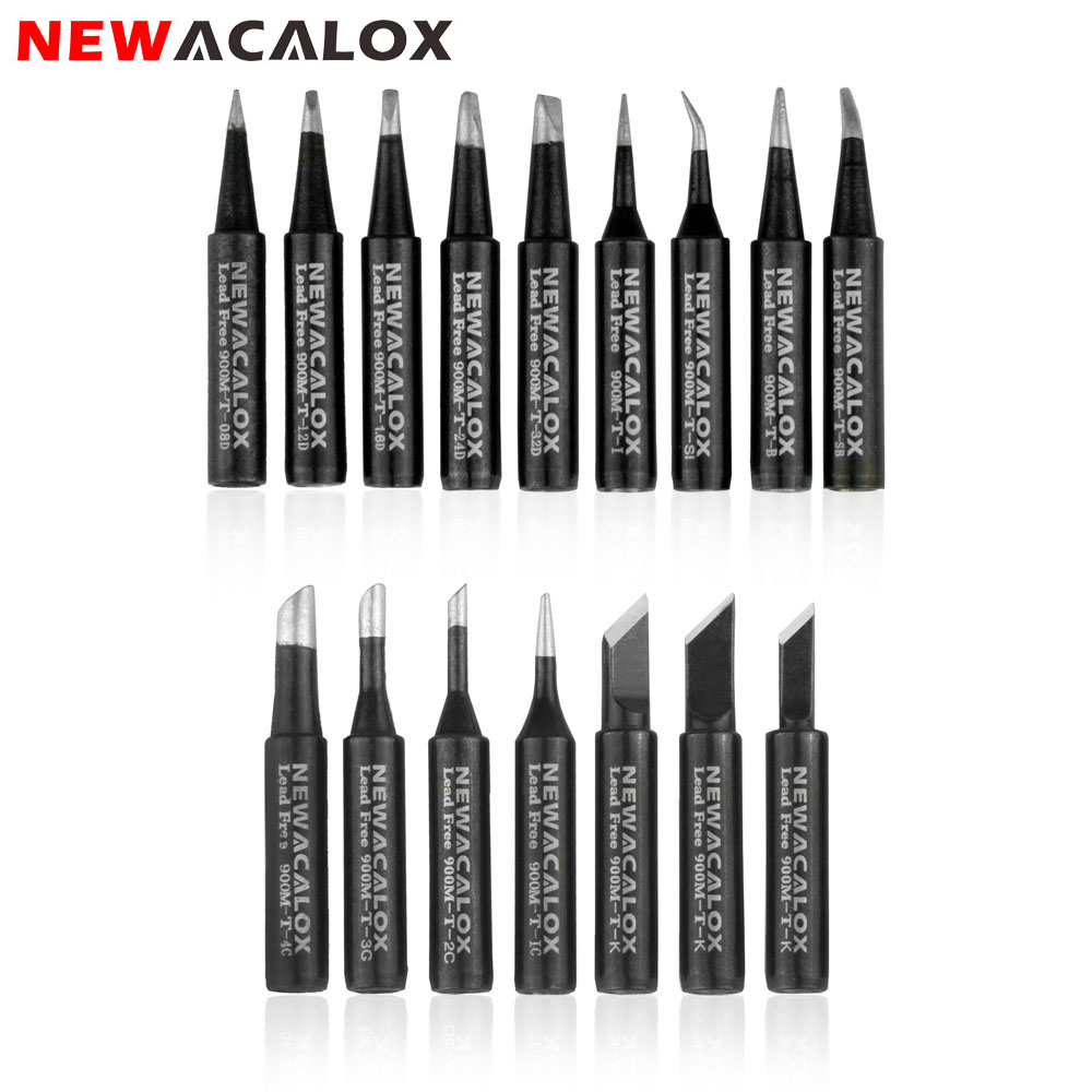 NEWACALOX 16pcs/lot Lead-free Soldering Iron Tips Black Metal Welding Tips 900M For Hakko Rework Soldering Station Tool Kits
