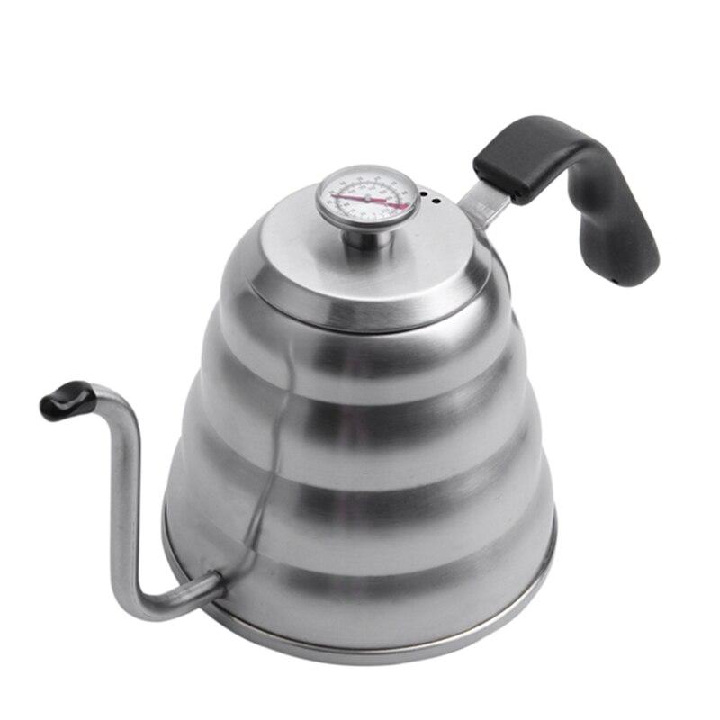Bouilloire à café Premium avec Pour une température précise 40 floz-bouilloire à thé à col de cygne-théière en acier inoxydable 5 tasses