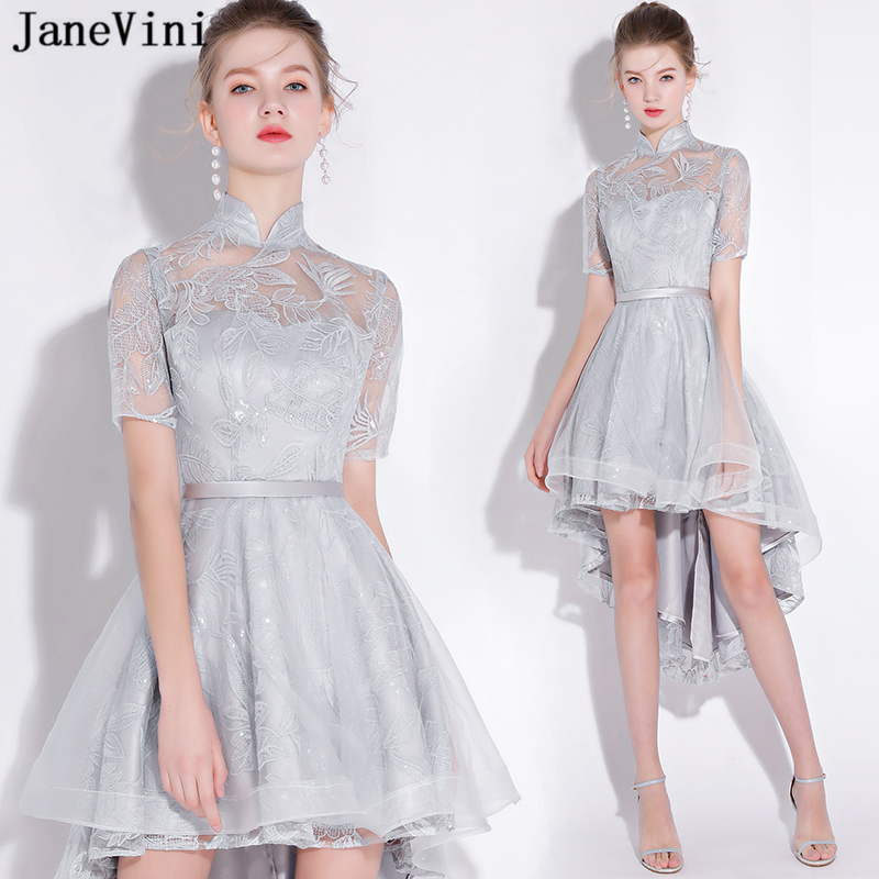 JaneVini Elegant Light Gray Long   Bridesmaid     Dresses   2019 Tea-Length High Neck Appliques Sequins High Low Tulle Formal Prom Gowns