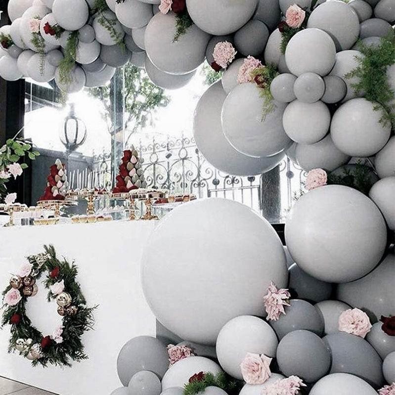 20/30pcs 5inch 10inch Pastel Grey Balloons Matte Gray Macaron Balloon Bouquet Wedding Decorations Birthday Party Supplies