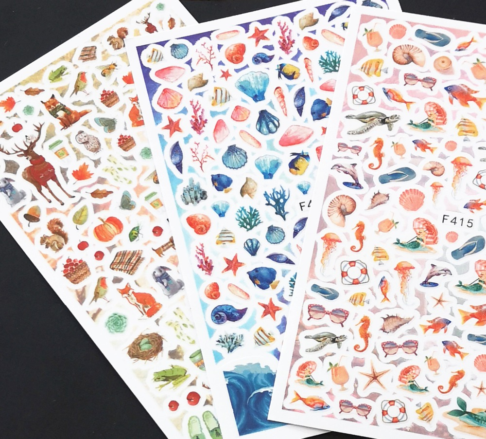 Newest F-411 sea design 3d nail sticker self-adhesive decal decoration art for wraps