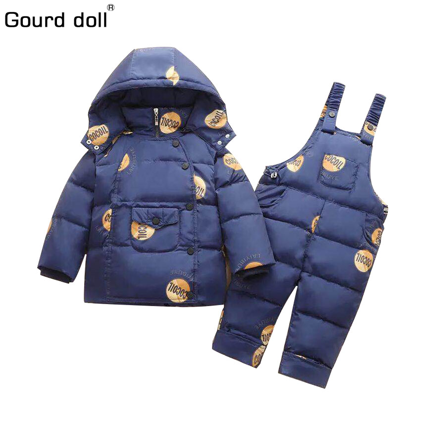 2017 Winter Children boys girls Clothing Sets 90% duck down jacket sets pants-jacket hooded baby boy winter jacket & coat s001 children duck down winter warm jacket with fur baby boy girl solid overcoat hooded winter jacket kid clothing fashion down coat