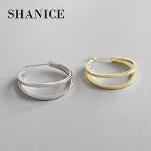 Shanice camadas duplas 925 prata esterlina círculo senhoras earing ouro-cor hoop brinco de alta qualidade grande laço jóias de casamento