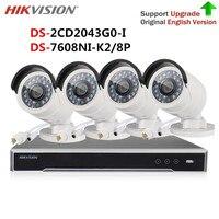 Hikvision video camera surveillance Kit 4K NVR DS 7608NI K2/8P & 4MP IP Camera DS 2CD2043G0 I (DS 2CD2042WD I) For system cctv