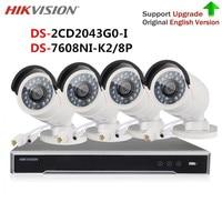 Hikvision видео камера комплект видеонаблюдения 4 К к NVR DS-7608NI-K2/8 P и 4MP IP камера DS-2CD2043G0-I (DS-2CD2042WD-I) для системы cctv