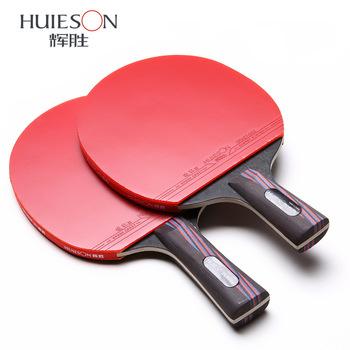 5 gwiazdek podwójna twarz pryszcze w węgla bat rakieta do tenisa stołowego z gumową pingpong paddle krótki długi uchwyt stół do tenisa stołowego rackt tanie i dobre opinie HuIESON 160*152mm Poziomym uchwytem HS-C-P301 Centrum ostrości (all-round metody) Pełna drewna oraz z włókna węglowego