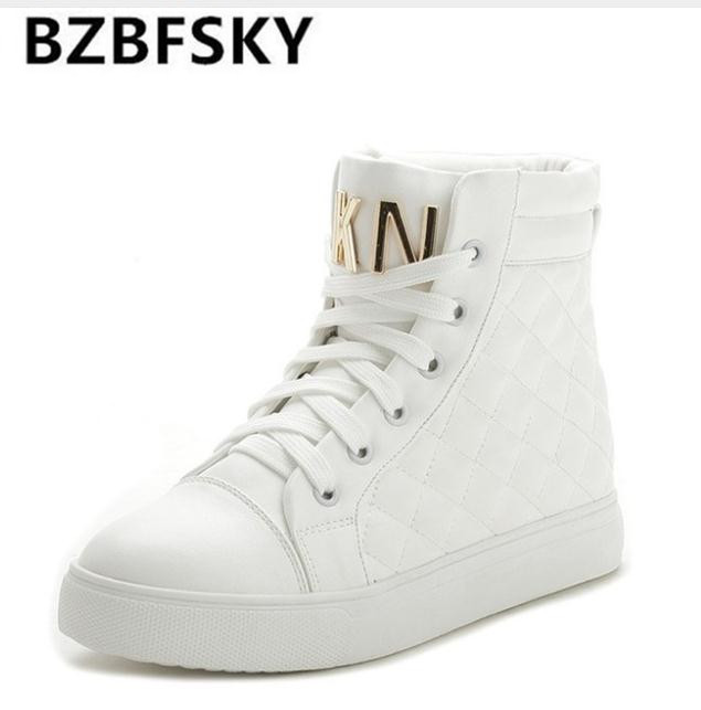 BZBFSKY Fashion High Top Sneakers Canvas Shoe Women Casual Shoes White Flat Female Basket Lace Up Solid Trainers Chaussure Femme недорого