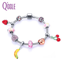 QGGLE New Fruit Cherry Strawberry Banana Charm Bangle Bracelet For Girl Women With Crystal Balls