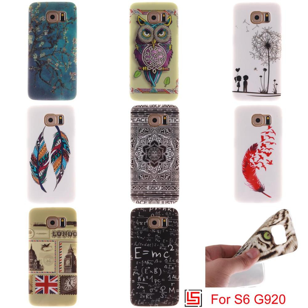 Best Ultra Thin TPU Silicone Soft Phone Mobile Case cubierta Cover Bag Cove For Samsung Galaxy S6 SM G920 S 6 Flower Tree Lion