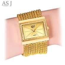 ASJ Women Quartz Watch Artificial Diamond Rectangle Dial Twining Chain Strap Bracelet Wristwatch