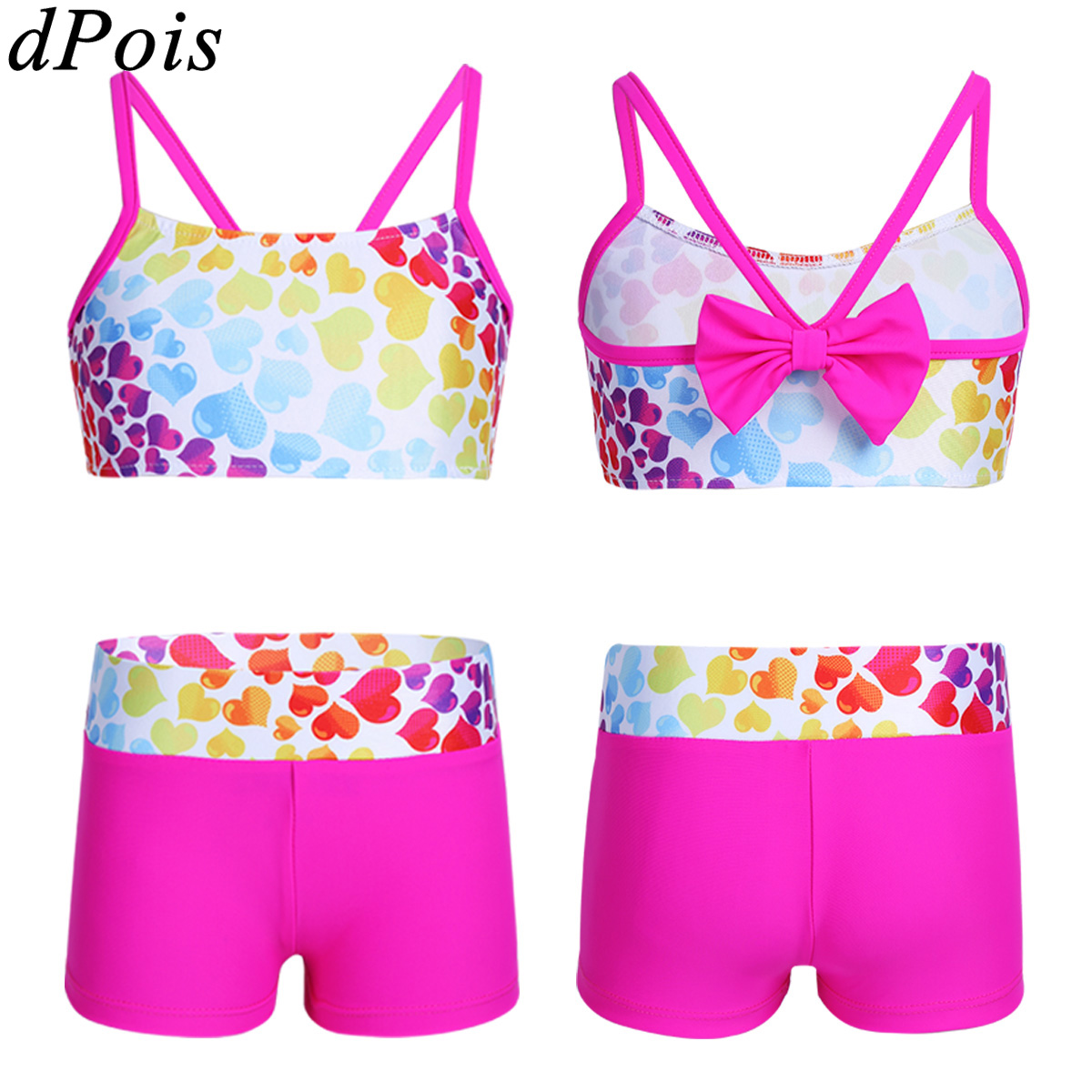 Two Piece Kids Girls Tankini Swimsuit Heart Shaped Pattern Bowknot Back Swimwear Bathing Suit Tops and Bottoms Set Sport Costume