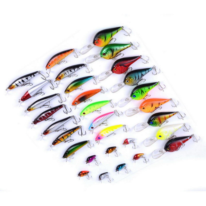 30pcs/set 3 Styles Multi Fishing Lure Mixed Colors Kit Fishing Crankbait Lures Minnow Wobbler Fishing Tackle Pesca Iscas wldslure 1pc 54g minnow sea fishing crankbait bass hard bait tuna lures wobbler trolling lure treble hook