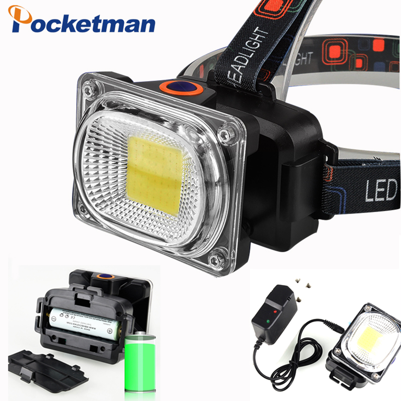 Power COB LED Headlight Headlamp DC Rechargeable Head Lamp Torch 3-Mode 18650 Battery Waterproof Hunting Fishing Lighting