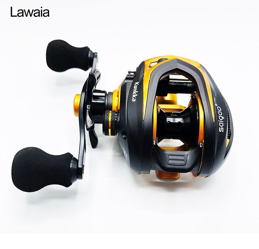 Lawaia baitcast carretel duplo sistema de freio carretel de pesca 7.1: 1 fundição carretel 14 + 1 roda máquina carretel de arremesso equipamentos de pesca