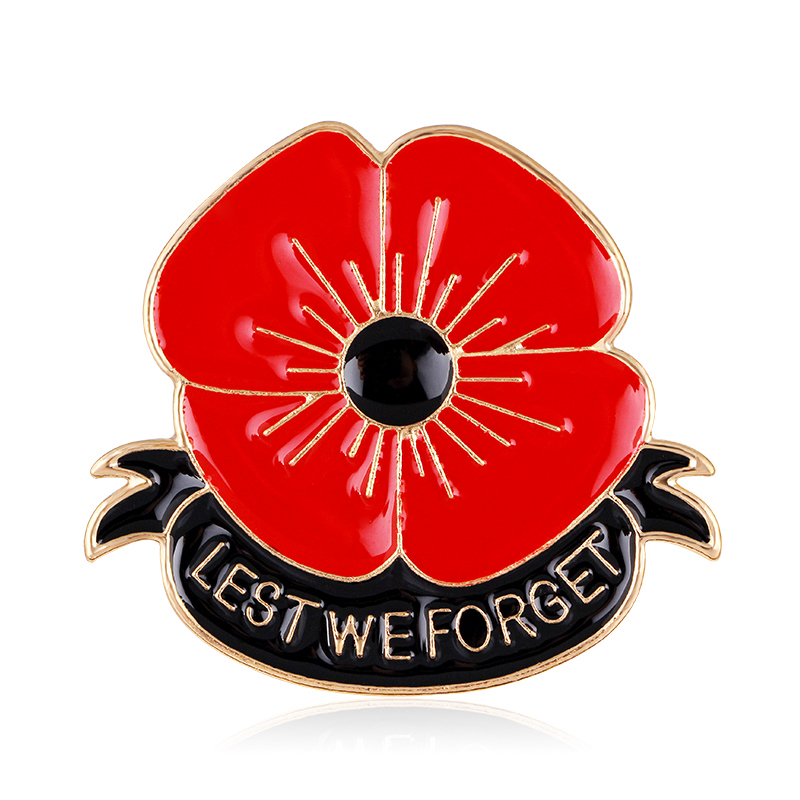 "British Red Poppy Brooch Flower Pin Engraved ""LEST WE FORGET"" Classic Brooches Pins Red Enamel Brooch Souvenir"