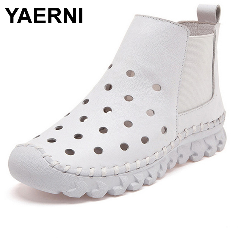 YAERNI Genuine Leather Hollow Out Breathable Summer Sandals Boots 2017 Autumn Fashion Sewing Flat Women Flat Ankle Boots Soft lcx 2017 summer pvc hollow out sandals glitter flat stock the bird nest hole wholesale or retail