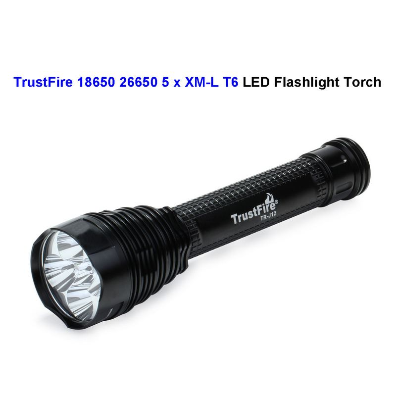 ФОТО 10pcs TrustFire J12 18650 5 x CREE XM-L T6 LED Torch LED Camping Flashlight 4500 Lumens Waterproof 5 Modes Wholesale