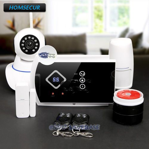 HOMSECUR Wireless GSM SMS Autodial Home Security Alarm System+Wireless IP Camera homsecur wireless