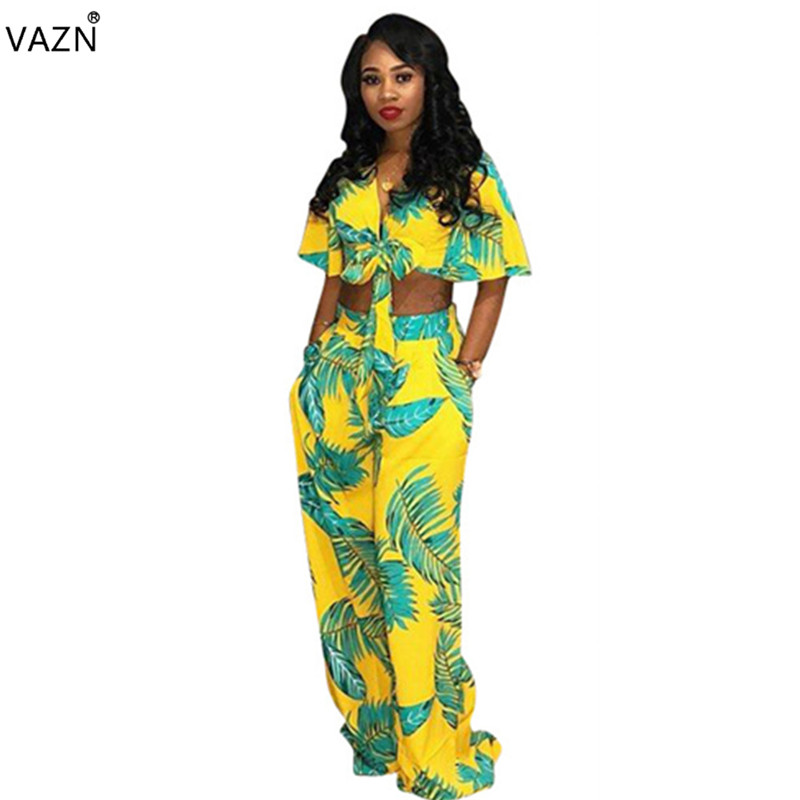 VAZN 2018 new fashion 2-pieces print jumpsuits women v-neck short sleeve jumpsuits ladies hollow out straight jumpsuits DN8121