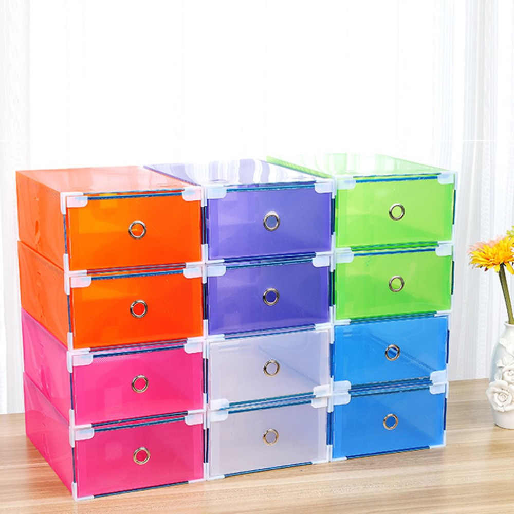 6 Colors Plastic Shoe Storage Box Case Drawer Candy Color Organizer Save Space Shoe Box 310*200*110mm