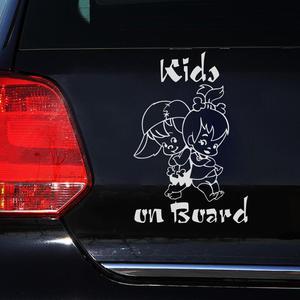 Image 2 - 12.5*18CM 귀여운 어린이 보드에 만화 경고 자동차 스티커 창 장식 스티커 비닐 데 칼 자동차 스티커 folie 자동 카로