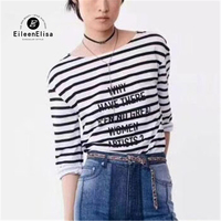 Spring Striped T Shirt Fashion Tops Women 2018 Long Sleeve Tees O Neck Letter Printed T