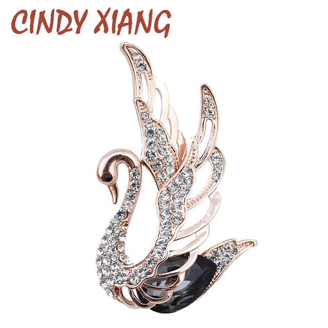 CINDY XIANG 3 Colors Choose Rhinestone and Crystal Swan Brooches for Women Elega