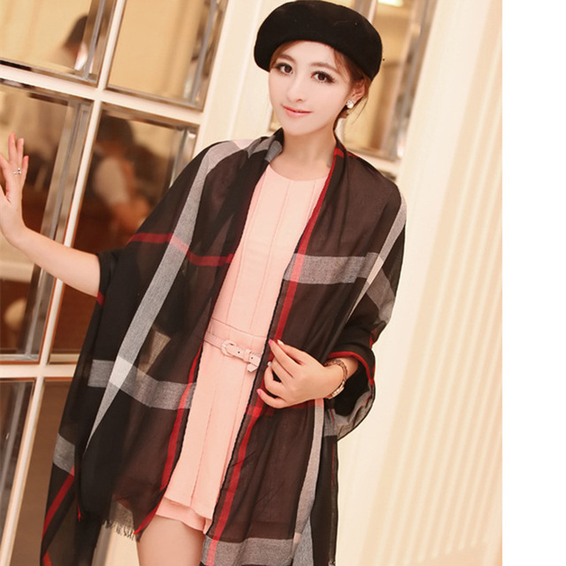 2015 Hot Fashion Burb Scarf Plaid British Style Cotton Tartan Channel Scarf Echarpes Womens Shawls Pashimina Bufandas Mujer Wrap