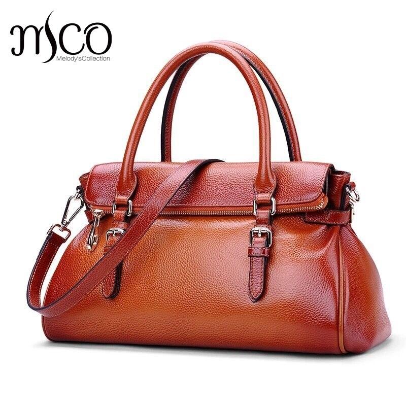 купить Genuine Leather Female Bag Women Handbag and Purse Vintage Casual High Quality Cross Body Shoulder Bag Satchel feminine bolsa недорого