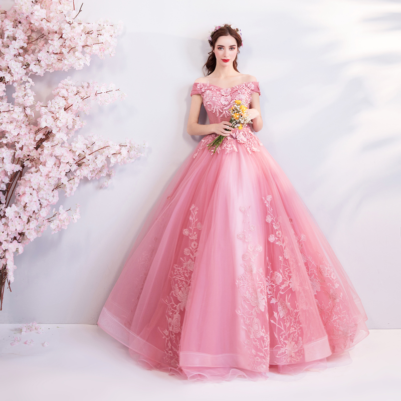 Hot Sale Princess Quinceanera Dresses Off The Shoulder Puffy Ball Gowns Pink Appliques Vestido Quinceanera Debutante