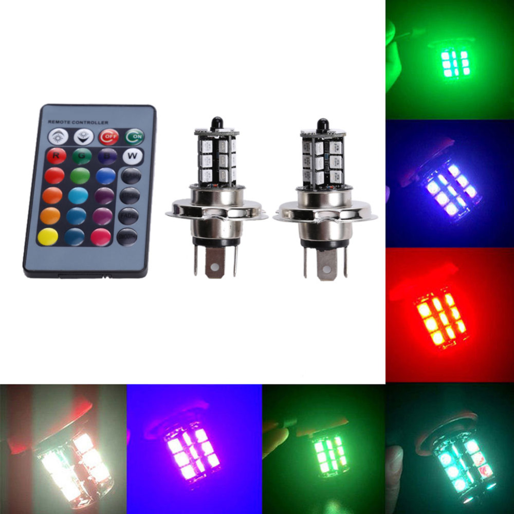 2x LED 27 SMD 5050 RGB Car Headlight H4 Fog Light Lamp Bulb + Remote carprie super drop ship 2x car h1 13 smd 5050 led white head fog headlight light lamp bulb 12v mar713