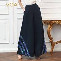 VOA Heavy Silk Office Wide Leg Pants Women Plus Size 5XL Loose Long Trouser Brief Basic Mid Waist Navy Blue Casual Pocket K327
