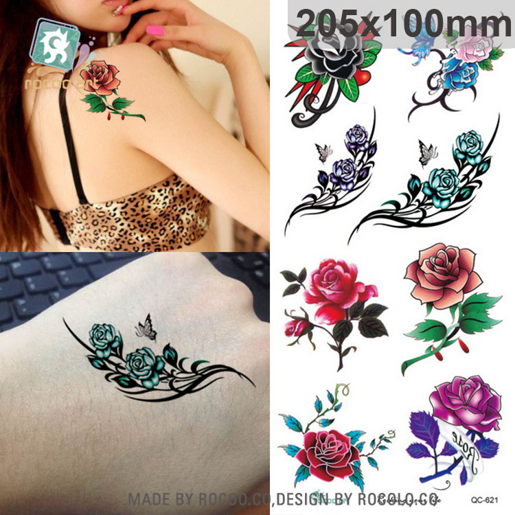 buy qc 621 new small pink red purple flower tattoo design temporary body tattoo. Black Bedroom Furniture Sets. Home Design Ideas