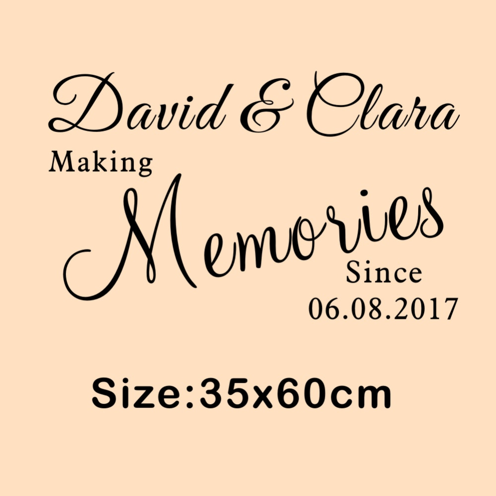 US $6.68 12% OFF|Personalized Couple Name and Date Wall Decal Making  Memories Love Quotes Vinyl Stickers for Living Room Bedroom-in Wall  Stickers from ...