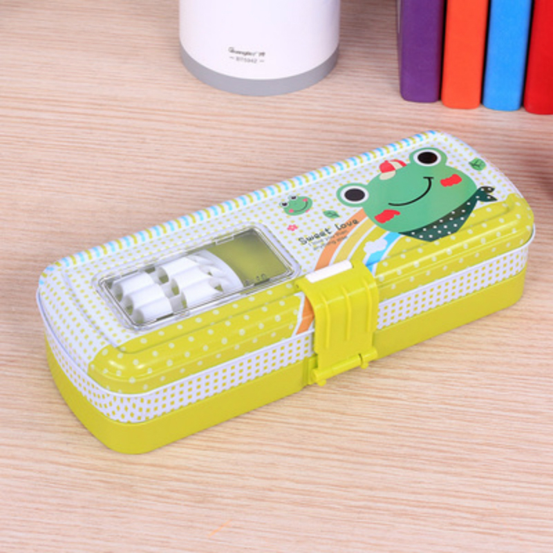 Cute 3 Layers Pencil Case Lock Buckle Multi-function Kawaii Iron Pencil Box/Bag School Penalty Chancery Estuche Escolar Penal big capacity high quality canvas shark double layers pen pencil holder makeup case bag for school student with combination coded lock