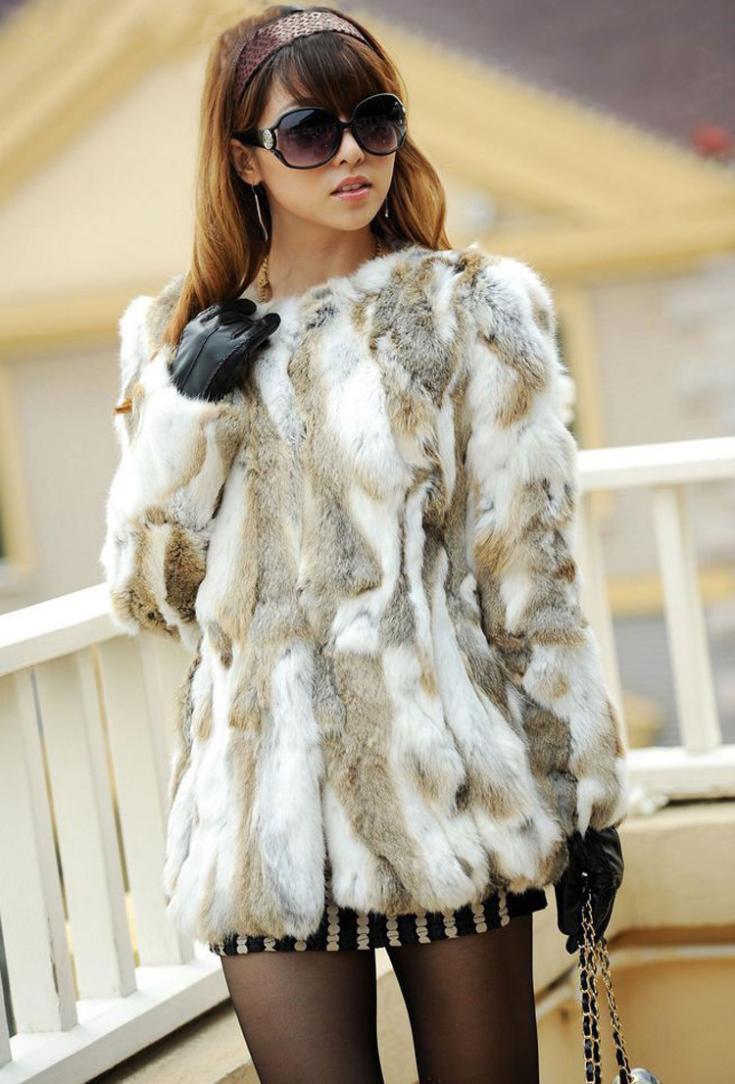 Шуба из натурального кроличьего меха Md-long Женская куртка из натурального нарезанного меха новая зимняя верхняя одежда вязаная Толстая теплая ZL3319 - Цвет: grass yellow