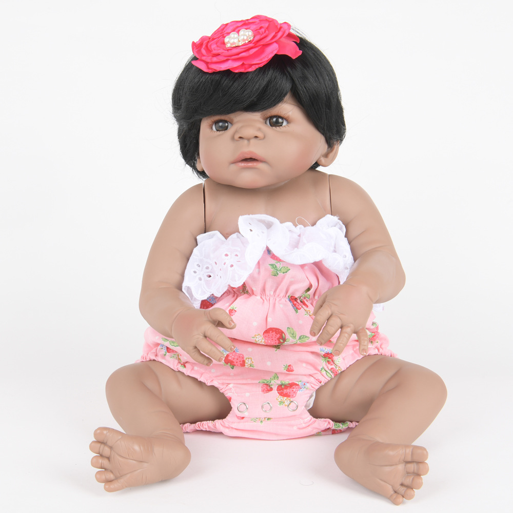 55cm Soft Full Silicone Vinyl Reborn Baby Doll Lovely Girl Dolls for Children Kids Toy Birthday Xmas New Year Gift 22 inch soft full silicone vinyl reborn baby doll lovely sleeping girl dolls for children kids toy birthday xmas new year gift