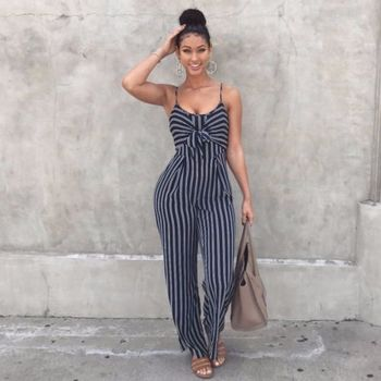 2019 Elegant Striped Sexy Spaghetti Strap Rompers Women Sets Sleeveless Backless Bow Casual Wide Legs Jumpsuits Leotard Overal 2