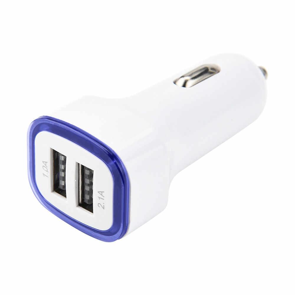 EPULA uniwersalny przenośny LED podwójna ładowarka samochodowa USB 5 V/2.1A/1A 2 adapter portu gniazda zapalniczki zapalniczki samochodowej do telefon dla iPhone 8