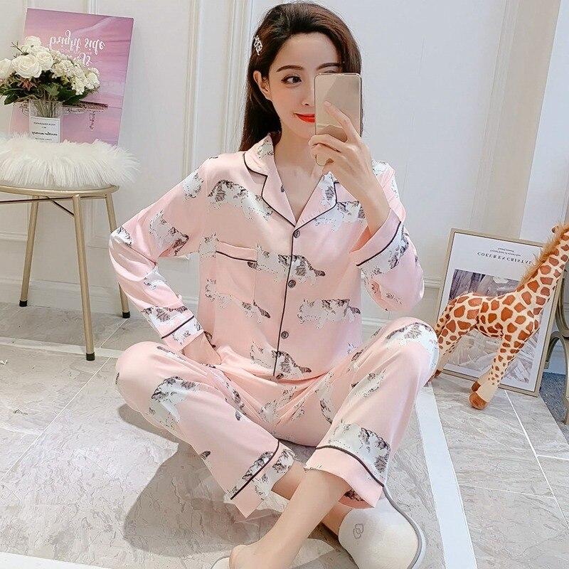 2019 Spring Autumn Silk Satin   Pajama     Sets   for Women Long Sleeve Pyjama Cute Cartoon Print Sleepwear Lounge Homewear Pijama Mujer